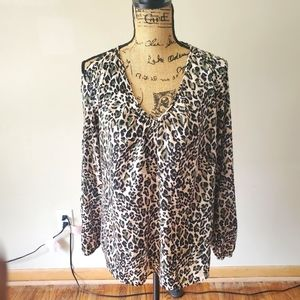 Three Eighty Two Beige Leopard Print Blouse Small